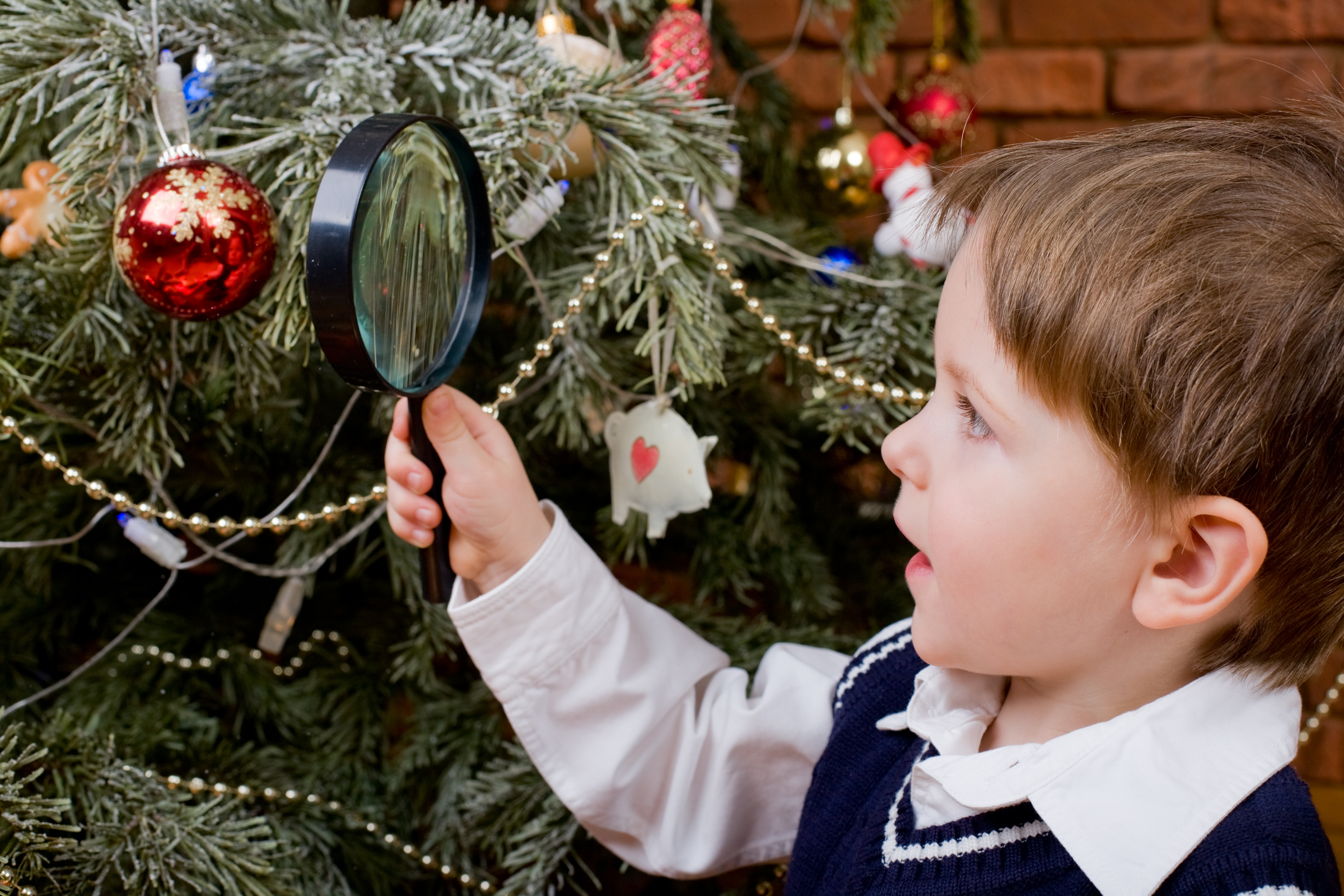 Boy tree decorations christmas winder magnifying glass